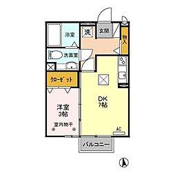 JR両毛線 新前橋駅 徒歩21分の賃貸アパート 1階1DKの間取り