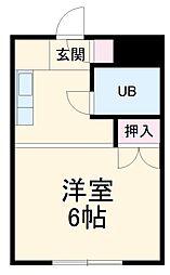 名鉄名古屋本線 藤川駅 徒歩2分の賃貸アパート 1階1Kの間取り