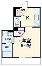 JR総武線 本八幡駅 徒歩10分の賃貸マンション 3階1Kの間取り
