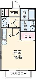 名鉄名古屋本線 東岡崎駅 徒歩6分の賃貸アパート 1階ワンルームの間取り