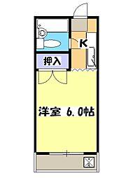 西武池袋線 狭山ヶ丘駅 バス20分 堀ノ内下車 徒歩3分の賃貸マンション 2階1Kの間取り