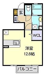フロンティア 1階ワンルームの間取り