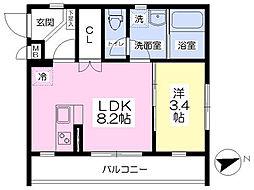 JR東海道本線 沼津駅 徒歩10分の賃貸マンション 2階1DKの間取り