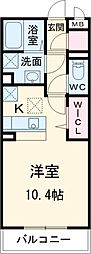 JR常磐線 新松戸駅 徒歩10分の賃貸アパート 1階ワンルームの間取り
