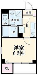 新京成電鉄 八柱駅 徒歩3分の賃貸アパート 1階1Kの間取り