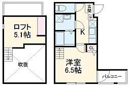 新京成電鉄 八柱駅 徒歩4分の賃貸アパート 1階1Kの間取り