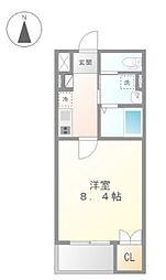 JR青梅線 福生駅 徒歩6分の賃貸マンション 4階1Kの間取り