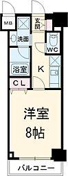 JR中央線 立川駅 徒歩6分の賃貸マンション 4階1Kの間取り