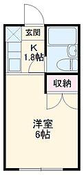 京王線 高幡不動駅 徒歩12分の賃貸マンション 1階1Kの間取り