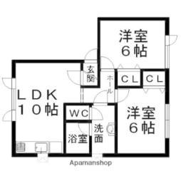 ハピネス北光(4戸) 1階2LDKの間取り