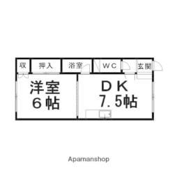 コーポカナムラ 2階1DKの間取り