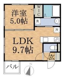 Lucia南12 4階1LDKの間取り