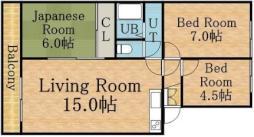 コスモロイヤル東苗穂B棟 4階3LDKの間取り