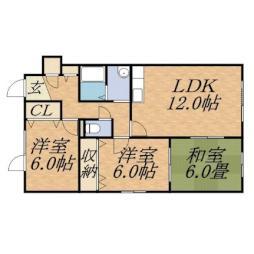 札幌市営南北線 北18条駅 徒歩20分の賃貸アパート 1階3LDKの間取り