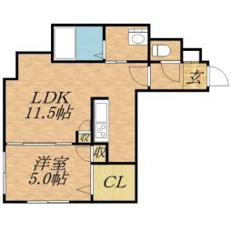 モルティーニ麻生II 2階1LDKの間取り
