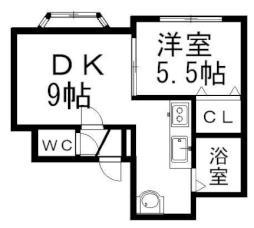 札幌市営東豊線 月寒中央駅 徒歩10分の賃貸アパート 3階1DKの間取り