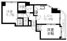 札幌市営東豊線 福住駅 徒歩19分の賃貸マンション 4階2LDKの間取り