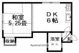 シャルマン平岡 2階1DKの間取り
