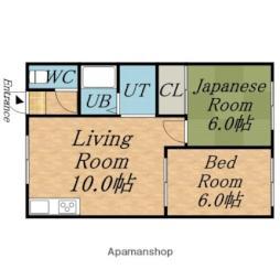 札幌市営東西線 大谷地駅 バス10分 清田区役所前下車 徒歩5分の賃貸アパート 1階2LDKの間取り