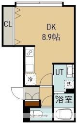 深堀町16番アパートA棟 1階ワンルームの間取り