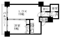 ティアラタワー中島倶楽部(I-IV) 13階1LDKの間取り