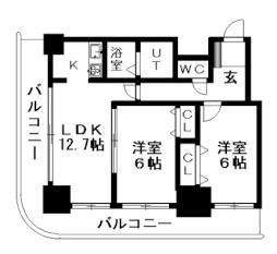 ティアラタワー中島倶楽部(I-IV) 23階2LDKの間取り