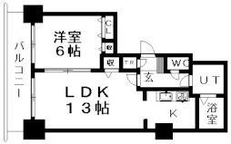 ティアラタワー中島倶楽部(I-IV) 30階1LDKの間取り