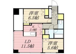 札幌市営東西線 バスセンター前駅 徒歩4分の賃貸マンション 6階2LDKの間取り