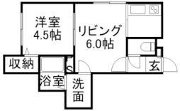 シャイニングスター菊水 3階1LDKの間取り