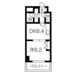 ターフサイド桑園 6階1DKの間取り