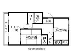 JR函館本線 森林公園駅 徒歩5分の賃貸マンション 2階2LDKの間取り