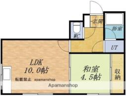 JR函館本線 余市駅 徒歩15分の賃貸アパート 2階1LDKの間取り