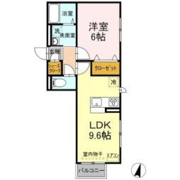 JR常磐線 ひたち野うしく駅 7.8kmの賃貸アパート 2階1LDKの間取り