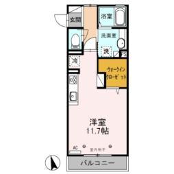 東武佐野線 堀米駅 徒歩18分の賃貸アパート 3階ワンルームの間取り