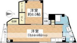 岡村マンション 1階1LDKの間取り