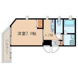 京急本線 大森町駅 徒歩3分の賃貸マンション 3階1Kの間取り