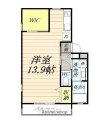 伊豆箱根鉄道大雄山線 緑町駅 徒歩10分の賃貸アパート 1階ワンルームの間取り