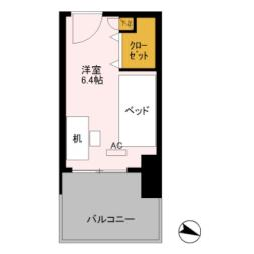 JR上越新幹線 新潟駅 徒歩10分の賃貸マンション 2階ワンルームの間取り
