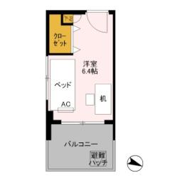 JR上越新幹線 新潟駅 徒歩10分の賃貸マンション 3階ワンルームの間取り