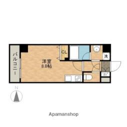 名古屋市営鶴舞線 大須観音駅 徒歩4分の賃貸マンション 5階ワンルームの間取り