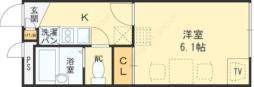 レオパレスセブンスヒルIII 3階1Kの間取り