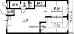 京阪本線 寝屋川市駅 徒歩5分の賃貸マンション 3階2LDKの間取り