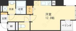 Osaka Metro四つ橋線 西梅田駅 徒歩4分の賃貸マンション 13階ワンルームの間取り