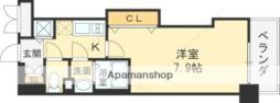 Luxe長田 4階1Kの間取り