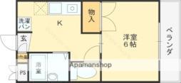近鉄信貴線 服部川駅 徒歩23分の賃貸マンション 1階1Kの間取り