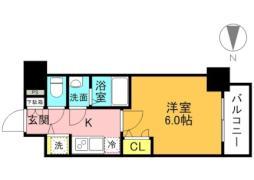 JR東西線 大阪城北詰駅 徒歩7分の賃貸マンション 3階1Kの間取り