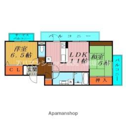 Osaka Metro長堀鶴見緑地線 横堤駅 徒歩5分の賃貸マンション 2階2LDKの間取り