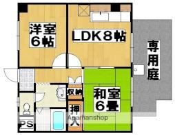 南海高野線 初芝駅 徒歩8分の賃貸マンション 1階2LDKの間取り