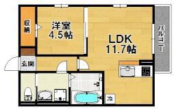 南海高野線 北野田駅 徒歩17分の賃貸アパート 2階1LDKの間取り