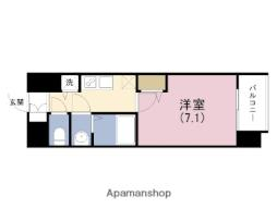 JR東西線 海老江駅 徒歩1分の賃貸マンション 13階1Kの間取り